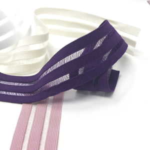 "1"" (25mm) Flat Elastic with Alternating Sheer Stripes, Stretch Trim- 2 Yards - Stitch Love Studio"