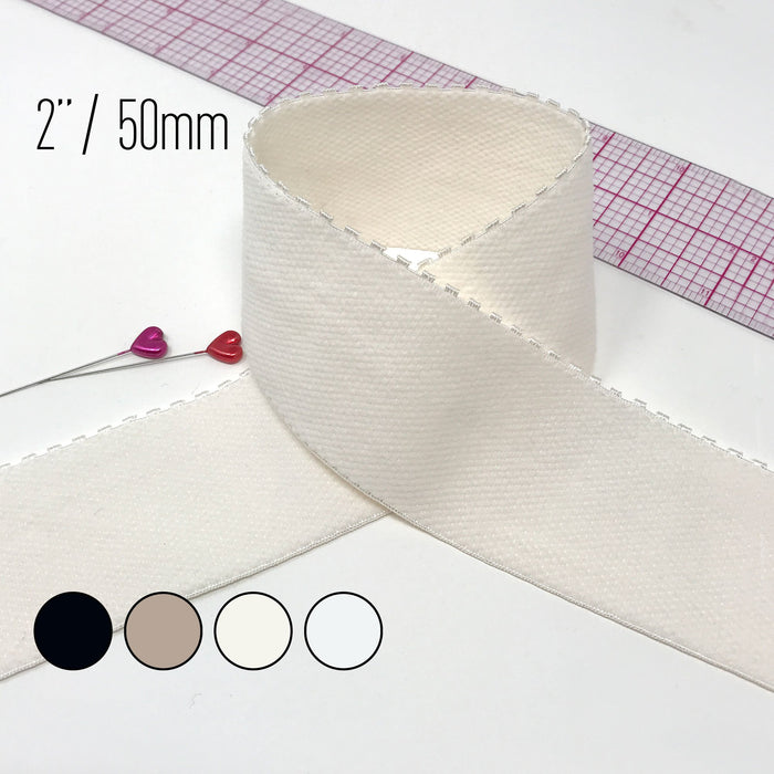 "2"" (5cm) Picot Edge Plush Soft Matte Elastic, Stretch Trim- 1 Yard"