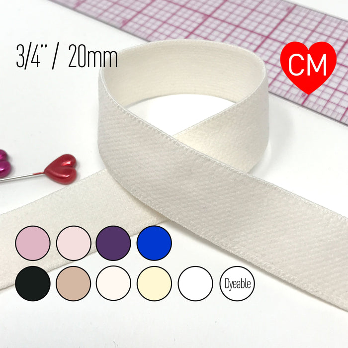 "3/4"" (20mm) Plush Soft Matte Elastic, Stretch Trim- 2 Yards"