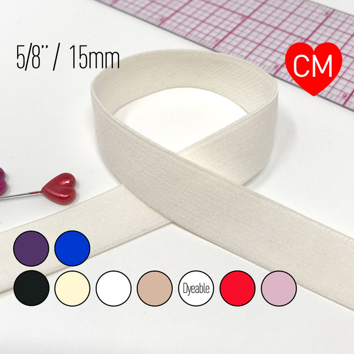 "5/8"" (15mm) Flat Soft Matte Elastic, Stretch Trim- 2 Yards"