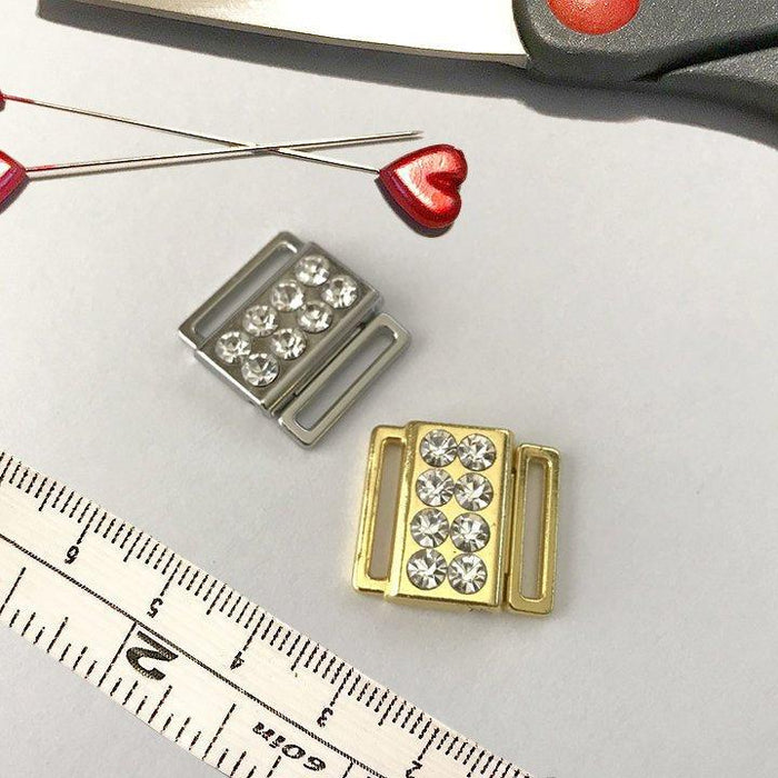 "1/2"" (12mm) Metal and Rhinestone Front Closures"