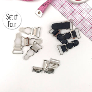 "3/4"" (20mm) Garter Clips with Adjuster Clips for Lingerie in Clear/Silver and Black/Silver - Set of 4 - Stitch Love Studio"