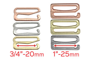 "Hardware & Fasteners - 3/4"" (20mm) Or 1"" (25mm) Bra Strap Slider Hooks- Set Of 2"