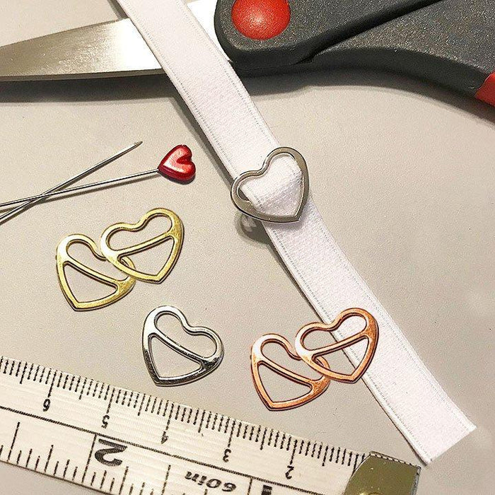 "3/8"" (10mm) or 1/2"" (12mm) Metal Heart-Shaped Bra Strap Sliders- Set of 2"