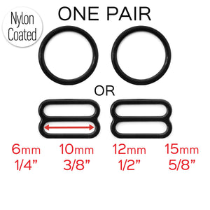 "Hardware & Fasteners - Set Of 2 Rings OR 2 Sliders Bra Strap Sliders In Black- 3/8"" (10mm), 1/2"" (12mm), 5/8"" (15mm), 1/4"" (6mm)"