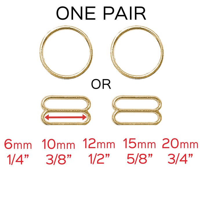"Set of 2 Rings OR 2 Sliders in Gold– 1/4"" (6mm), 3/8"" (10mm), 1/2"" (12mm), 5/8"" (15mm), 3/4"" (20mm)"