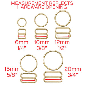 "Hardware & Fasteners - Set Of 2 Rings OR 2 Sliders In Gold– 1/4"" (6mm), 3/8"" (10mm), 1/2"" (12mm), 5/8"" (15mm), 3/4"" (20mm)"