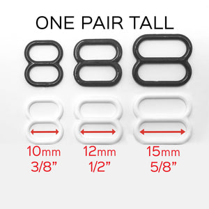 "Hardware & Fasteners - Set Of 2 TALL Sliders In White Or Black- 1/4"" (6mm), 3/8"" (10mm), 1/2"" (12mm), 5/8"" (15mm)"