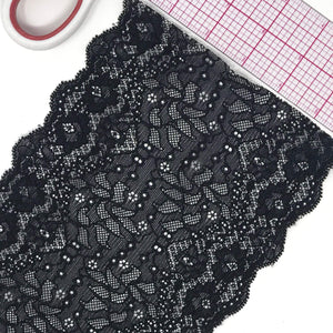 "Laces - 5 3/4"" (15cm) Wide Black Scallop Stretch Lace- 1 Yard"