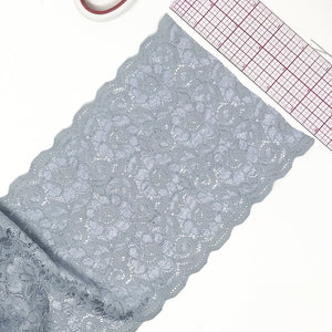 "Laces - 5 3/4"" (15cm) Wide Light Bluish Grey/Gray Scalloped Stretch Lace- 1 Yard"