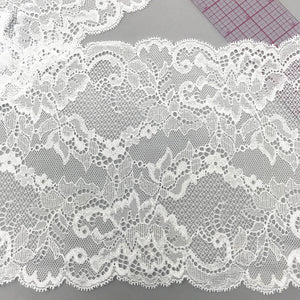 "Laces - 6 1/2"" (16.5cm) Stretch Lace, Soft, High Quality- 1 Yard"