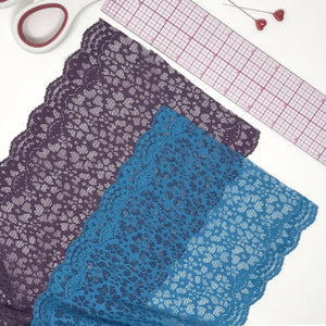 "Laces - 6 1/2"" (16.5cm) Wide Stretch Lace In Plum Or Dark Turquoise- 1 Yard"