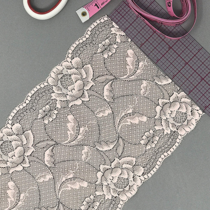 "6 1/4"" (16cm) Wide Pale Pink, with Black Accents Stretch Lace- 1 Yard"