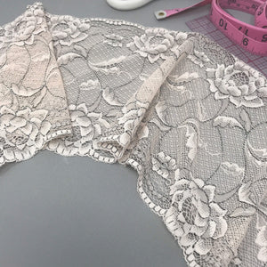 "Laces - 6 1/4"" (16cm) Wide Pale Pink, With Black Accents Stretch Lace- 1 Yard"