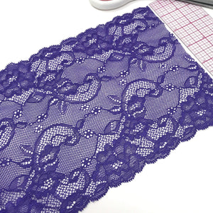"Laces - 6 1/4"" (16cm) Wide Purple Scalloped Stretch Lace- 1 Yard"