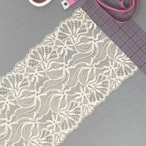 "Laces - 6"" (15cm) Wide Light Beige/Cream Color Stretch Lace- 1 Yard"