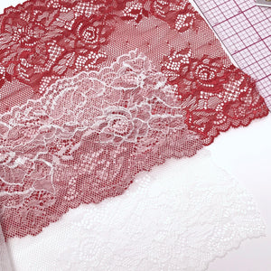 "Laces - 6"" (15cm) Wide Stretch Lace In Red Or White- 1 Yard"