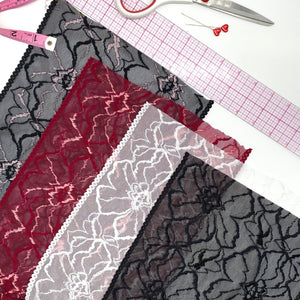 "Laces - 9"" (23cm) Stretch Lace, Soft, High Quality In Black, White, Black-Pink Or Wine-Pink- By The 1 Yard"