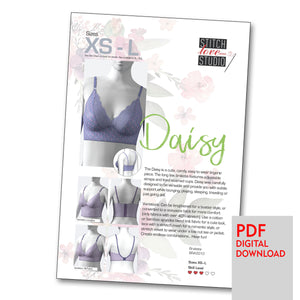"Patterns - PDF ""Daisy"" Bralette Sewing Pattern, Sizes XS-L"