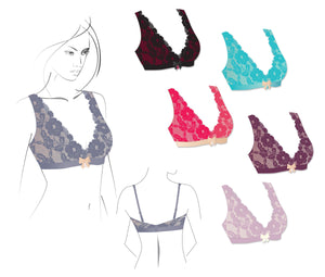 Patterns - PDF Dare & CoSewing Pattern. Wire-Free Lace Bralette- Sizes: 32-36 AB – CD, 38AB