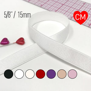"Satin Elastics - 5/8"" (15mm) Satin Elastic, Bra Strap- 2 Yards"