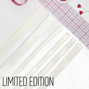 "Satin Elastics - LIMITED EDITION Perfectly Pearl Elastic In 3/8"", 1/2"",  5/8"" Satin, 3/8"", 1/2"" Picot And 3/4"" Flat Plush"