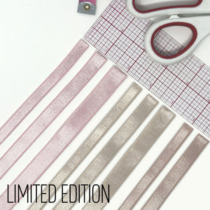 "Satin Elastics - LIMITED EDITION Satin Elastic In Frosty Pink, Frosty Mocha And Frosty Beige 3/8"", 1/2"" And 5/8"" Width"