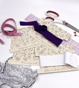 Set Of 4 Elastic, Ribbon Or Lace Storage Cards