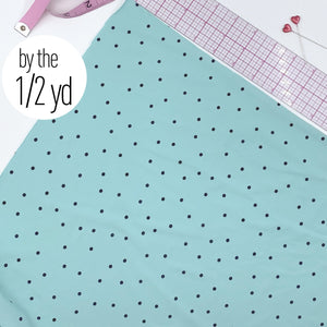 Stretch Tricot Fabric Lightweight, Black Dot Print On Minty Green- By The 1/2 Yard