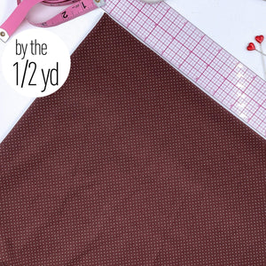 Stretch Tricot Fabric Lightweight, Ivory Mini Dot Print On Chocolate Background- By The 1/2 Yard