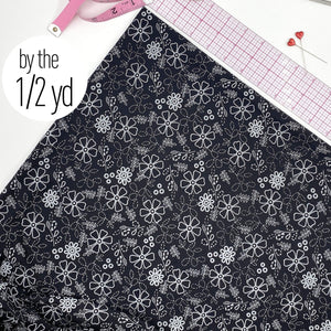Stretch Tricot Fabric Lightweight, White Flower Print On Black Background- By The 1/2 Yard