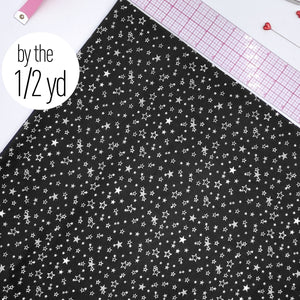Stretch Tricot Fabric Lightweight, White Stars Print On Black Background- By The 1/2 Yard