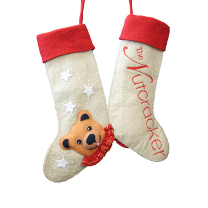 Nutcracker Bear Christmas Stocking