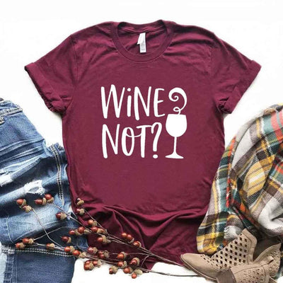 Wine Not Print Women Tshirts Cotton Casual Funny t Shirt For Lady  Top Tee Hipster 6 Color Drop Ship NA-509