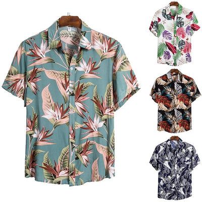 MJARTORIA New Arrival Men's Shirts Men Hawaiian Camicias Casual One Button Wild Shirts Printed Short-sleeve Blouses Tops 2020 - Smirk Society