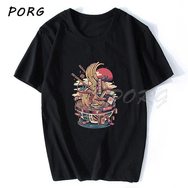 Neko Ramen Japan Cat Anime T Shirt Men's High Quality Aesthetic Cotton Cool Vintage T-shirt Harajuku Streetwear Camisetas Hombre - Smirk Society