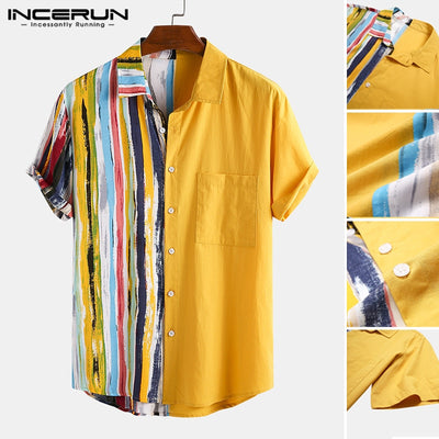 INCERUN Men Fashion Striped Patchwork Shirts Casual Short Sleeve Lapel Printed Shirt Summer Loose Holiday Hawaiian Camisa S-3XL7 - Smirk Society