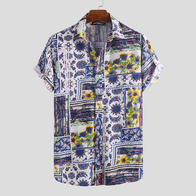 2020 Short Sleeve Hawaiian Shirt Men Printing Beach Vintage Vacation Tops Lapel Camisa Summer Casual Brand Shirts Men Masculina - Smirk Society