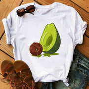 women's T-shirts Kawaii Cartoon Avocado Short Sleeve harajuku T-shirt Women Casual Avocado 90s Graphic Tops female T-shirt Tops - Smirk Society