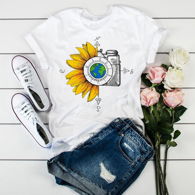 2020 New Women T-Shirt Watercolor Female Printed Harajuku T-shirt Vintage World Compass Camera Flower Women Graphic T-shirts Top