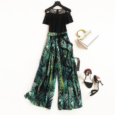 Women 2020 Spring summer New Elegant Chiffon Dress Suit Bow Collar Print A-line Dresses lace shirt loose pants  Set Plus Size - Smirk Society