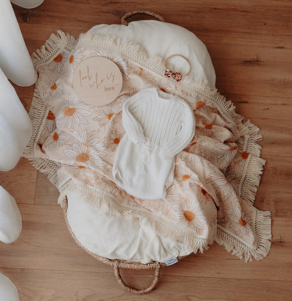ZIGGY LOU |  Daisy Swaddle with Natural Fringe