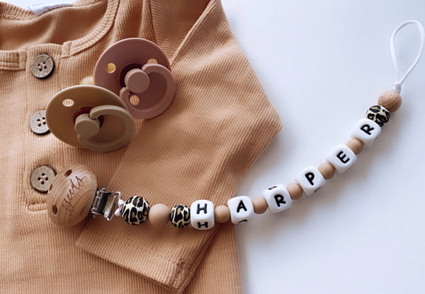 Personalised Leopard Dummy Clips