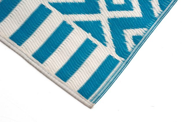 Angles Aqua and White Outdoor Rug - Stella Rugs