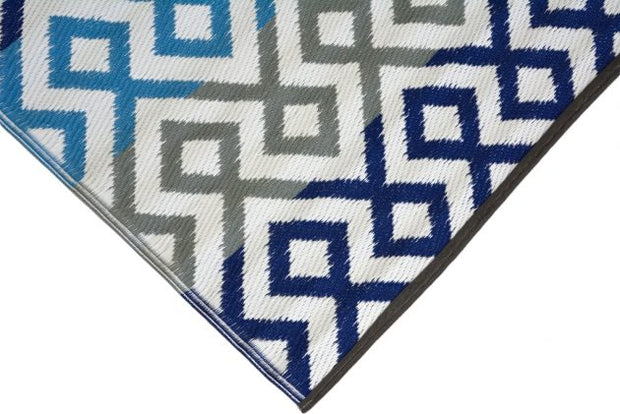Angles Blue and Grey Multi Outdoor Rug - Stella Rugs