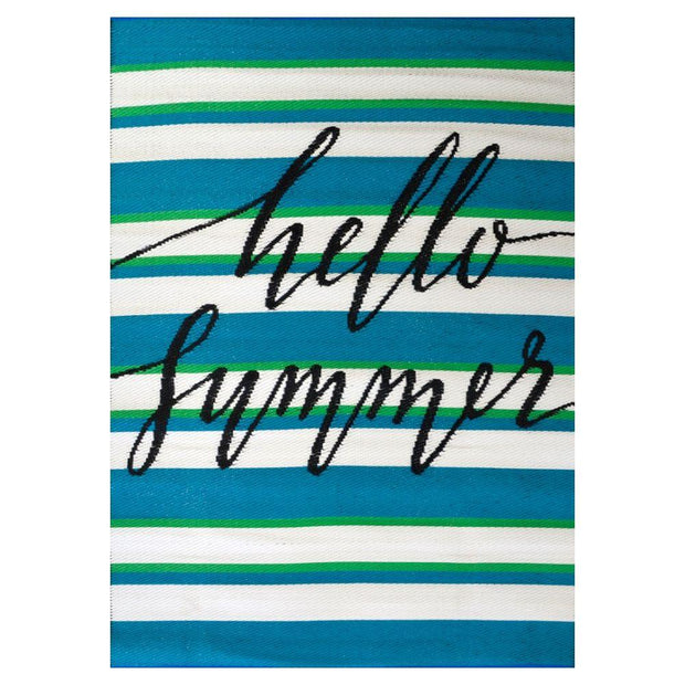 Hello Summer Aqua Outdoor Rug - Stella Rugs