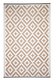 Aztec Beige and White Outdoor Rug