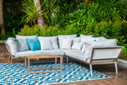 Aztec Teal and White Outdoor Rug - Stella Rugs