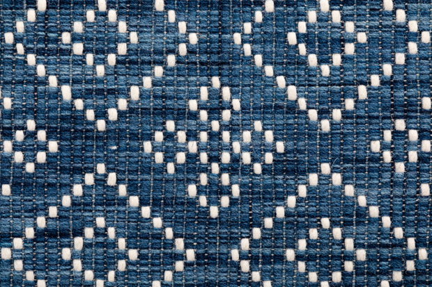 Bellevue Blue Hand Woven Pure Wool Low Pile Floor rug - Stella Rugs