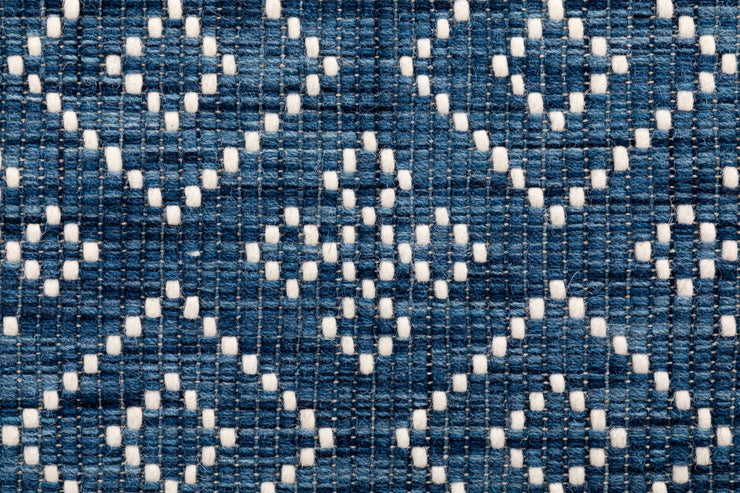 Bellevue Blue Hand Woven Pure Wool Low Pile Floor Rug Runner - Stella Rugs